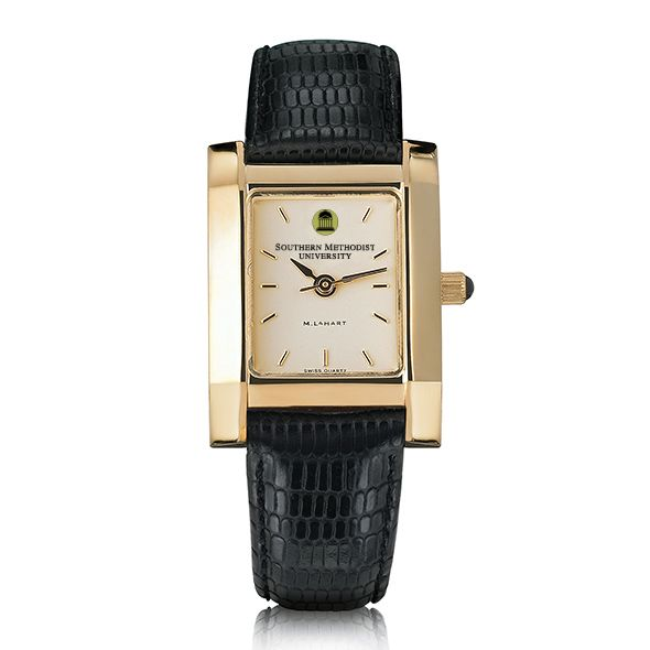 SMU Women's Gold Quad Watch with Leather Strap - Image 2