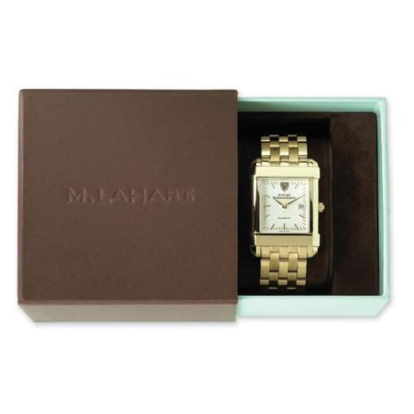 SMU Women's Gold Quad Watch with Leather Strap - Image 4