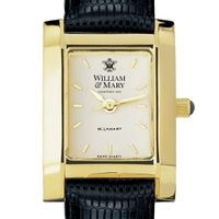 William & Mary Women's Gold Quad Watch with Leather Strap