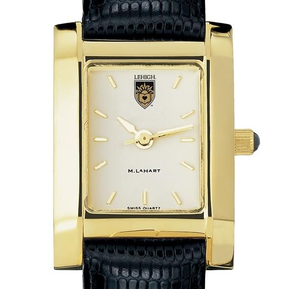 Lehigh Women's Gold Quad Watch with Leather Strap