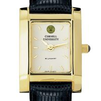 Cornell Women's Gold Quad Watch with Leather Strap