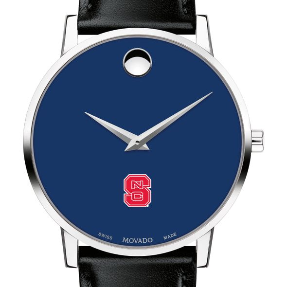 North Carolina State Men's Movado Museum with Blue Dial & Leather Strap