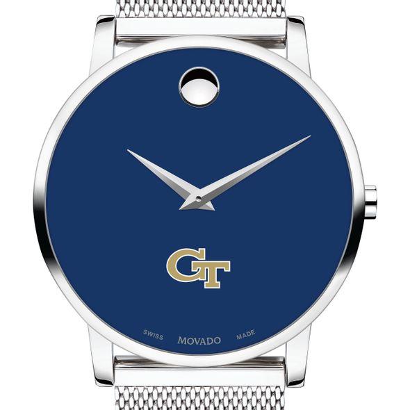 Georgia Tech Men's Movado Museum with Blue Dial & Mesh Bracelet