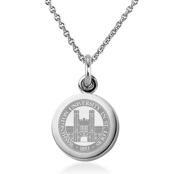 WashU Necklace with Charm in Sterling Silver