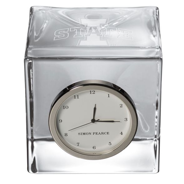 Iowa State University Glass Desk Clock by Simon Pearce - Image 2