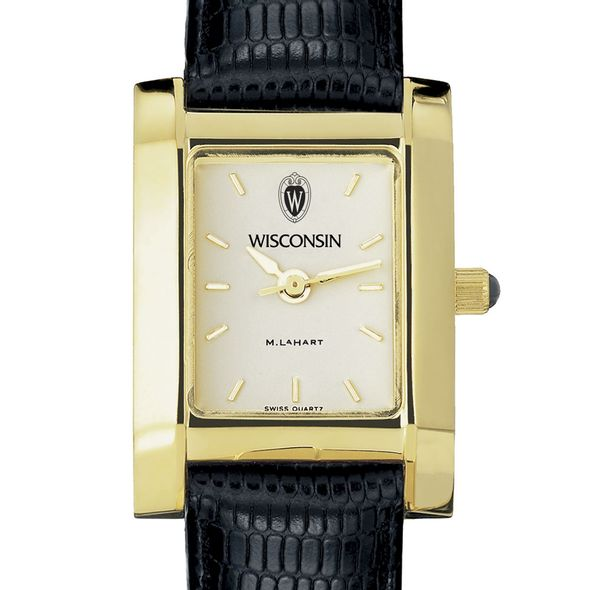 Wisconsin Women's Gold Quad Watch with Leather Strap