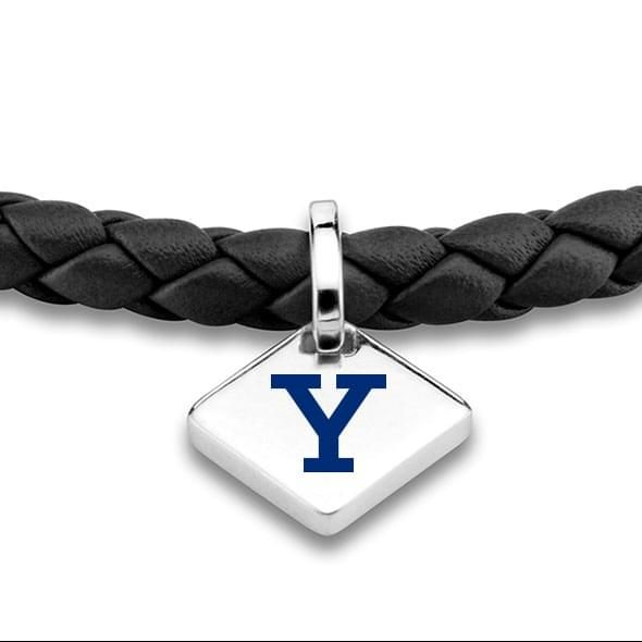 Yale Leather Bracelet with Sterling Silver Tag - Black - Image 2