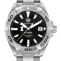 University of Illinois Men's TAG Heuer Steel Aquaracer with Black Dial