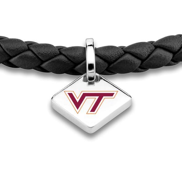 VT Leather Bracelet with Sterling Silver Tag - Black - Image 2