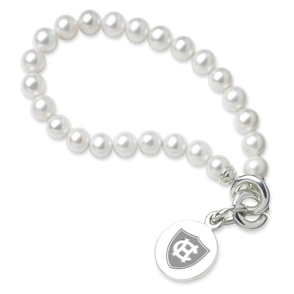 Holy Cross Pearl Bracelet with Sterling Silver Charm