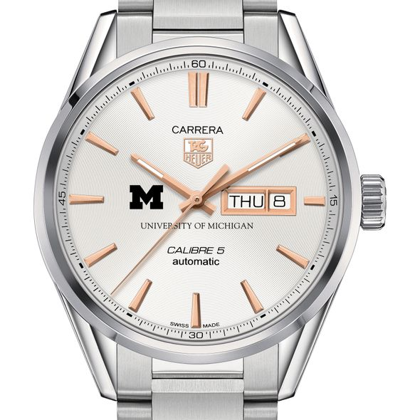 University of Michigan Men's TAG Heuer Day/Date Carrera with Silver Dial & Bracelet