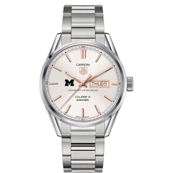 University of Michigan Men's TAG Heuer Day/Date Carrera with Silver Dial & Bracelet - Image 2
