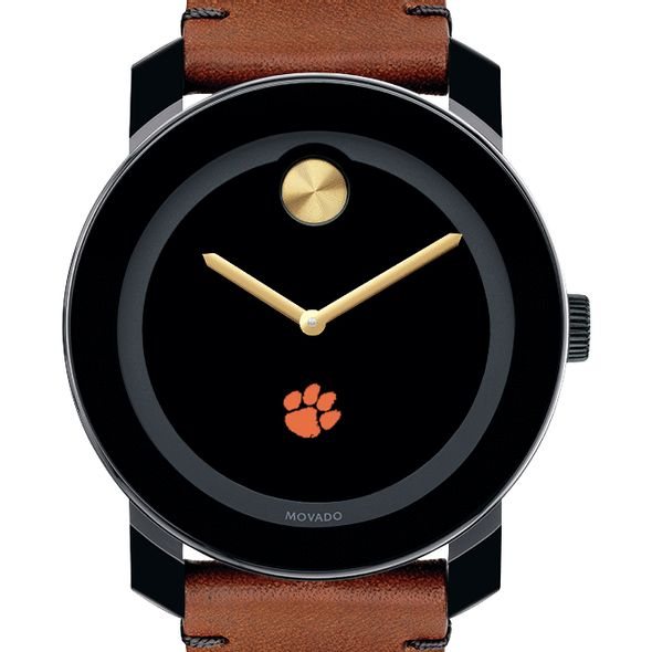 Clemson Men's Movado BOLD with Brown Leather Strap