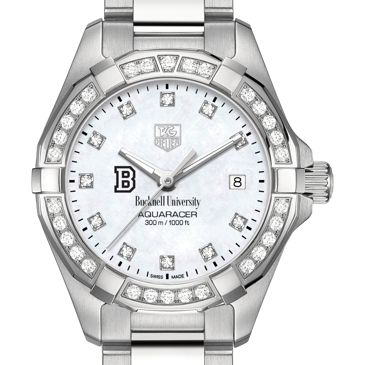 Bucknell Women's TAG Heuer Steel Aquaracer with MOP Diamond Dial & Diamond Bezel