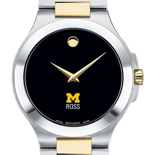 Michigan Ross Men's Movado Collection Two-Tone Watch with Black Dial - Image 1