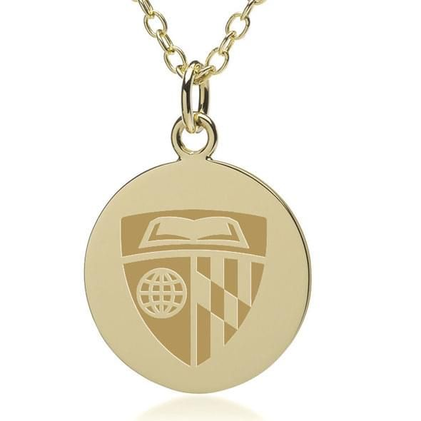 Johns Hopkins 18K Gold Pendant & Chain - Image 2