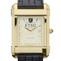East Tennessee State University Men's Gold Quad with Leather Strap