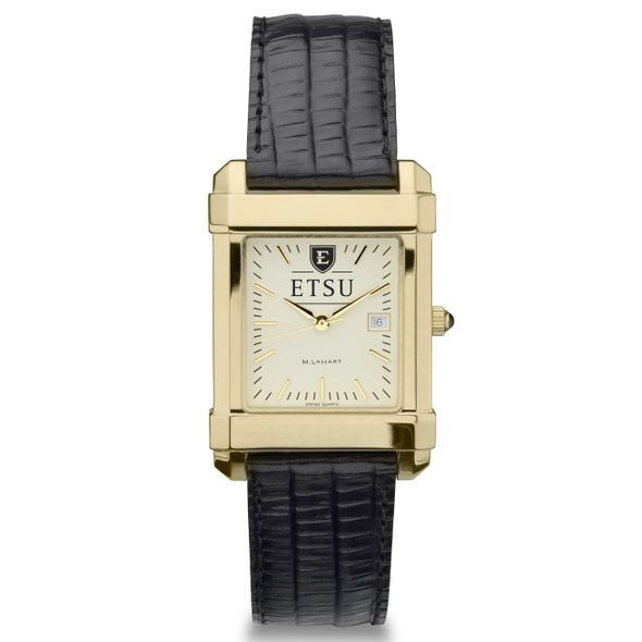 East Tennessee State University Men's Gold Quad with Leather Strap - Image 2
