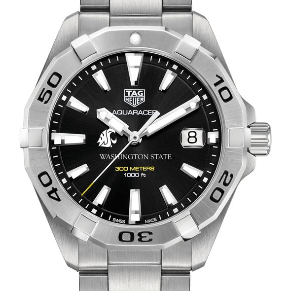 Washington State University Men's TAG Heuer Steel Aquaracer with Black Dial