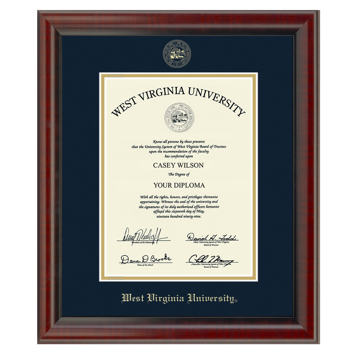 Official West Virginia University Diploma Frame The Fidelitas Graduation Gift Selection