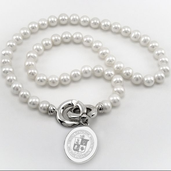 Virginia Tech Pearl Necklace with Sterling Silver Charm