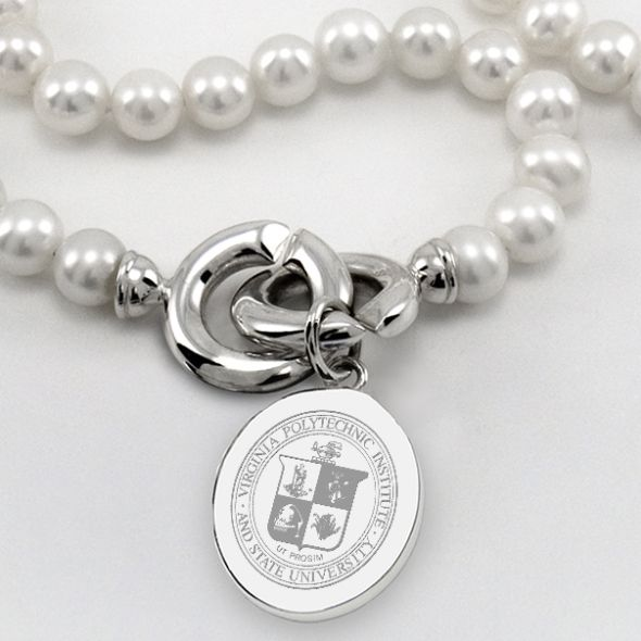 Virginia Tech Pearl Necklace with Sterling Silver Charm - Image 2