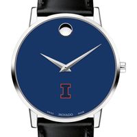 University of Illinois Men's Movado Museum with Blue Dial & Leather Strap