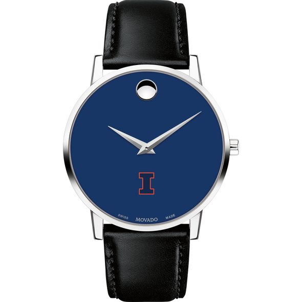 University of Illinois Men's Movado Museum with Blue Dial & Leather Strap - Image 2