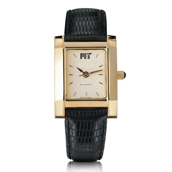Women's Gold Quad Watch with Leather Strap - Image 2