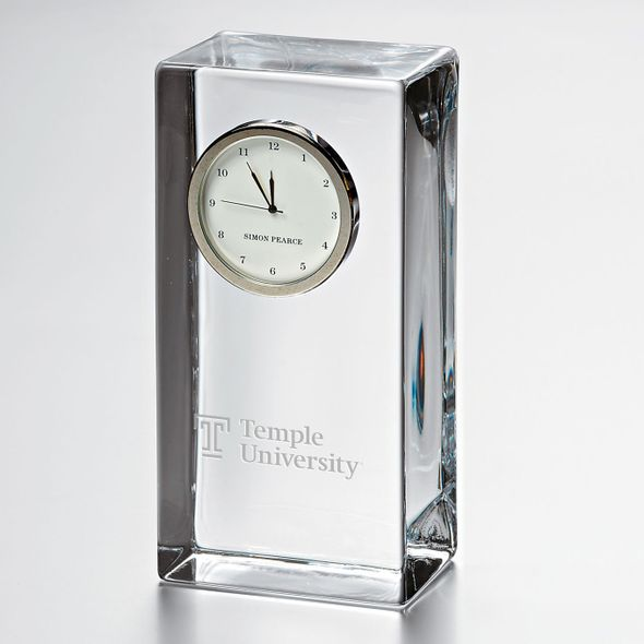 Temple Tall Glass Desk Clock by Simon Pearce