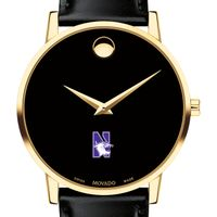Northwestern University Men's Movado Gold Museum Classic Leather