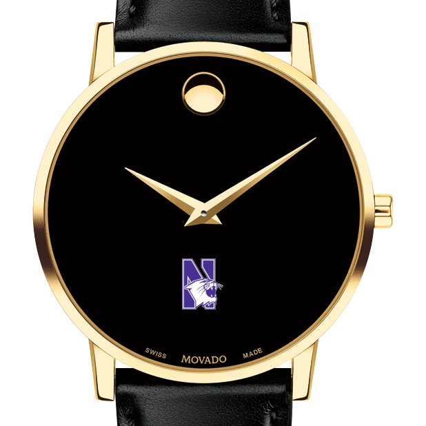 Northwestern Men's Movado Gold Museum Classic Leather