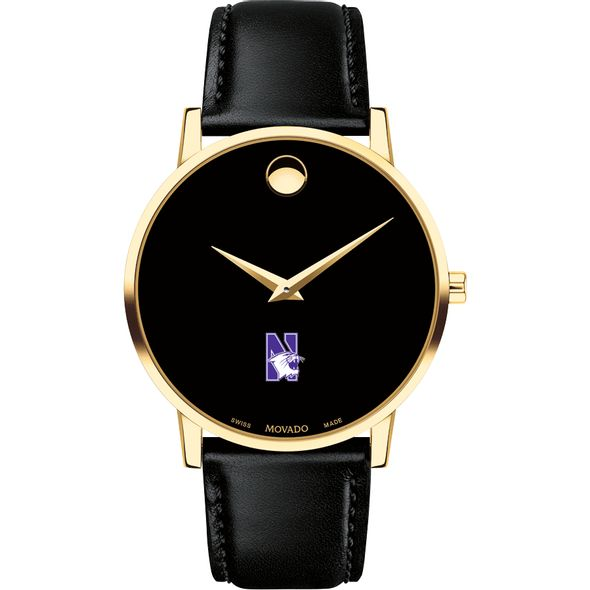 Northwestern University Men's Movado Gold Museum Classic Leather - Image 2