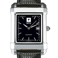 NYU Men's Black Quad Watch with Leather Strap