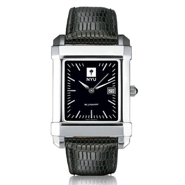 NYU Men's Black Quad Watch with Leather Strap - Image 2