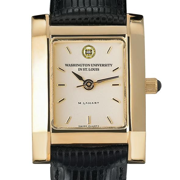 WUSTL Women's Gold Quad Watch with Leather Strap