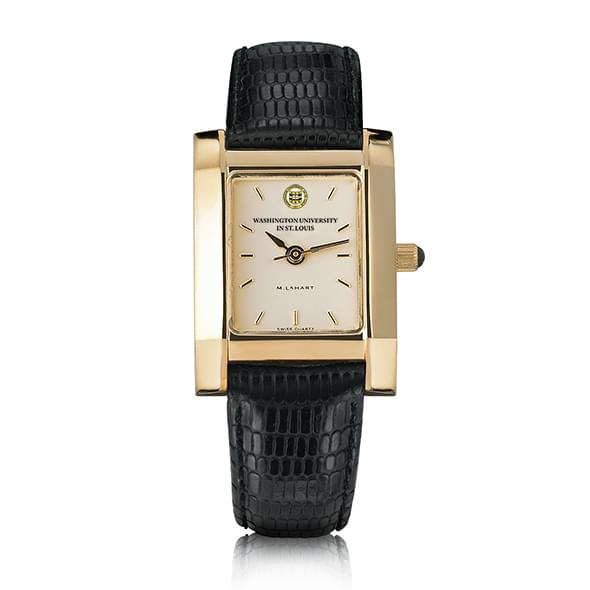WUSTL Women's Gold Quad Watch with Leather Strap - Image 2