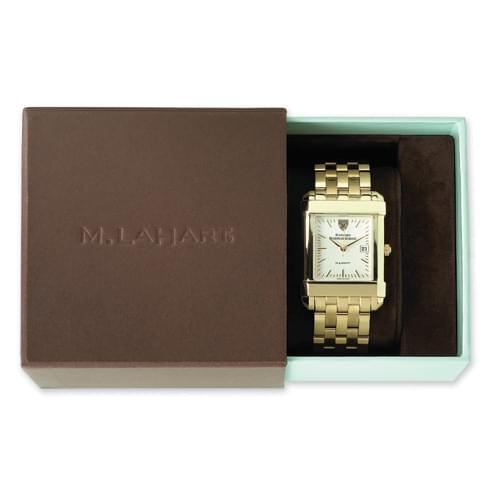WUSTL Women's Gold Quad Watch with Leather Strap - Image 4