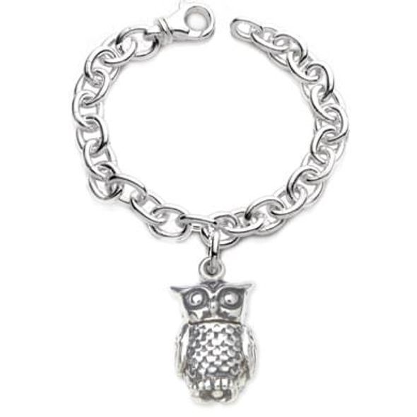 Chi Omega Sterling Silver Charm Bracelet w/ Owl Charm