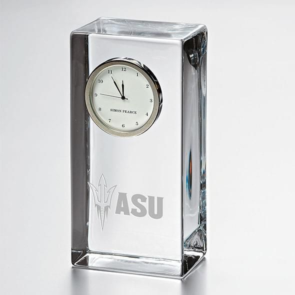 Arizona State Tall Glass Desk Clock by Simon Pearce