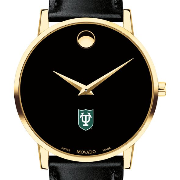Tulane University Men's Movado Gold Museum Classic Leather
