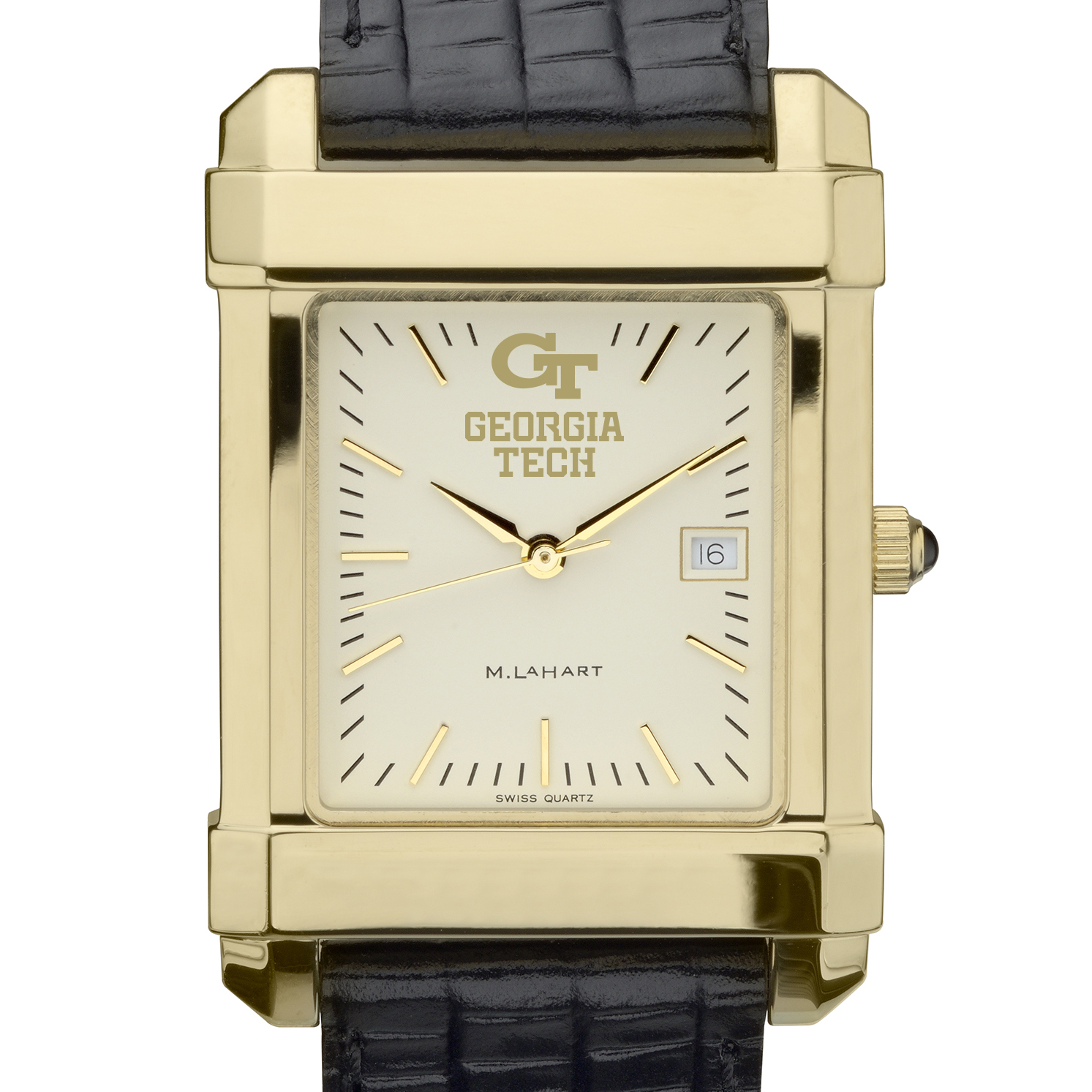 Georgia Tech Men's Gold Quad Watch with Leather Strap