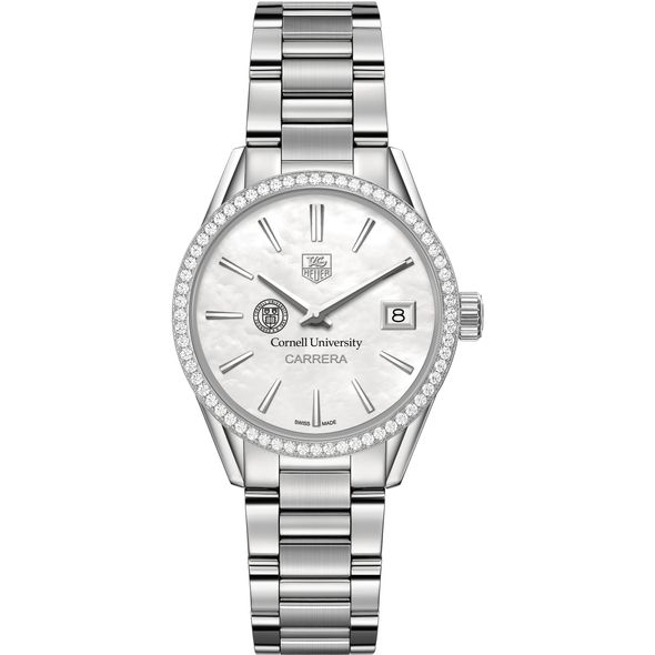 Cornell University Women's TAG Heuer Steel Carrera with MOP Dial & Diamond Bezel - Image 2