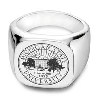 Michigan State Sterling Silver Square Cushion Ring