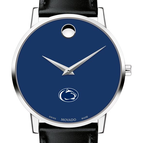Penn State University Men's Movado Museum with Blue Dial & Leather Strap