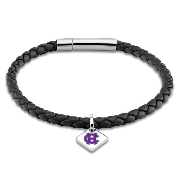 Holy Cross Leather Bracelet with Sterling Silver Tag - Black