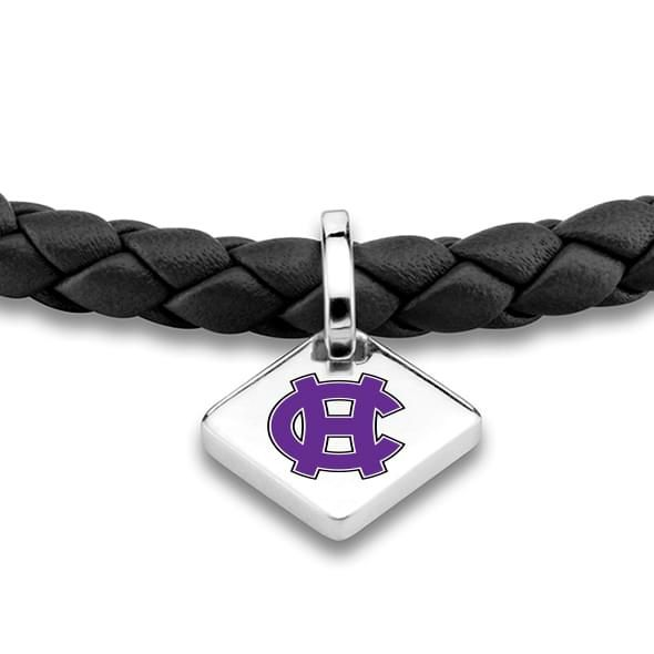 Holy Cross Leather Bracelet with Sterling Silver Tag - Black - Image 2
