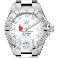 NC State Women's TAG Heuer Steel Aquaracer with MOP Diamond Dial