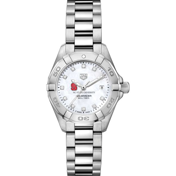 NC State Women's TAG Heuer Steel Aquaracer with MOP Diamond Dial - Image 2