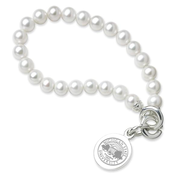 Michigan State Pearl Bracelet with Sterling Silver Charm